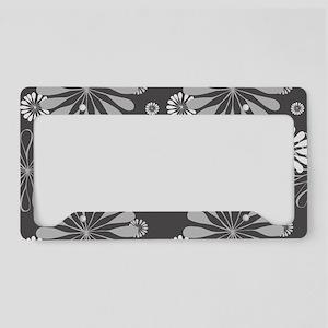 Floral Pattern - Charcoal Gra License Plate Holder