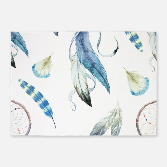 Dreamcatcher Feathers 5'x7'Area Rug