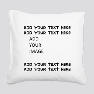 Custom Text and Image Square Canvas Pillow