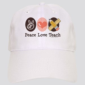 Peace Love Teach Teacher Cap