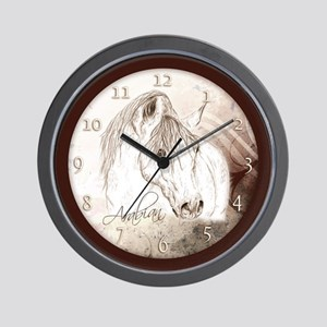 Grey Arabian Stallion Wall Clock