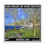 Alki Beach, West Seattle Tile Coaster
