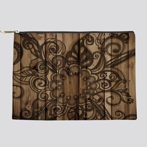abstract swirls barn wood Makeup Bag