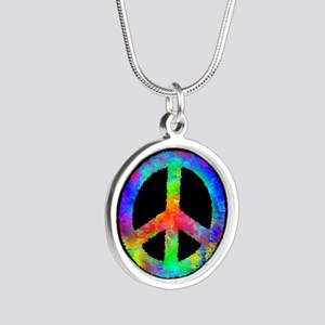 Abstract Rainbow Peace Sign Necklaces