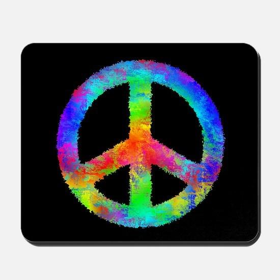 Abstract Rainbow Peace Sign Mousepad