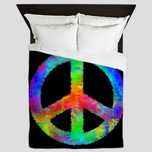 Abstract Rainbow Peace Sign Queen Duvet