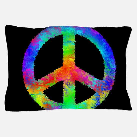 Abstract Rainbow Peace Sign Pillow Case