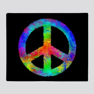 Abstract Rainbow Peace Sign Throw Blanket