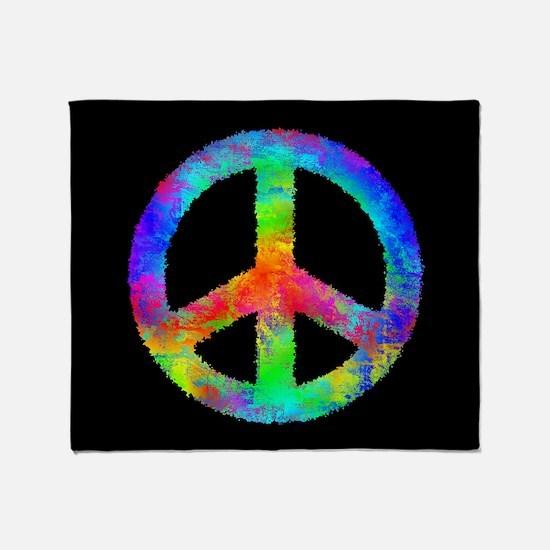Abstract Rainbow Peace Sign Throw Blanket