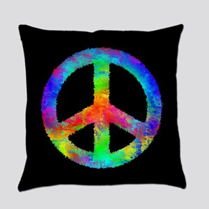 Abstract Rainbow Peace Sign Everyday Pillow