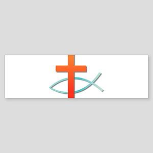 Christian cross fish Bumper Sticker