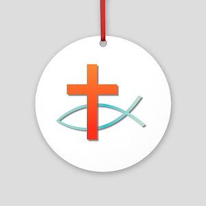 Christian cross fish Round Ornament