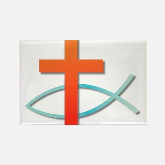 Christian cross fish Magnets