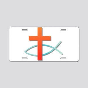 Christian cross fish Aluminum License Plate