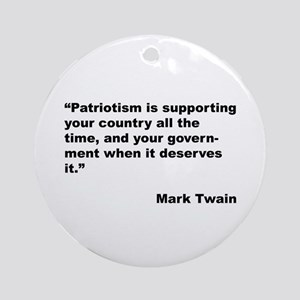 Mark Twain Quote on Patriotism Ornament (Round)