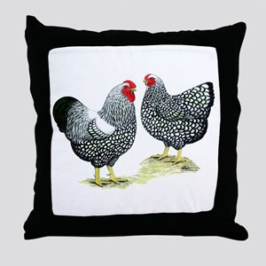 Wyandottes Silver-laced Pair Throw Pillow
