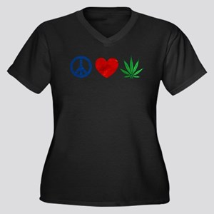 Peace Love Weed Plus Size T-Shirt