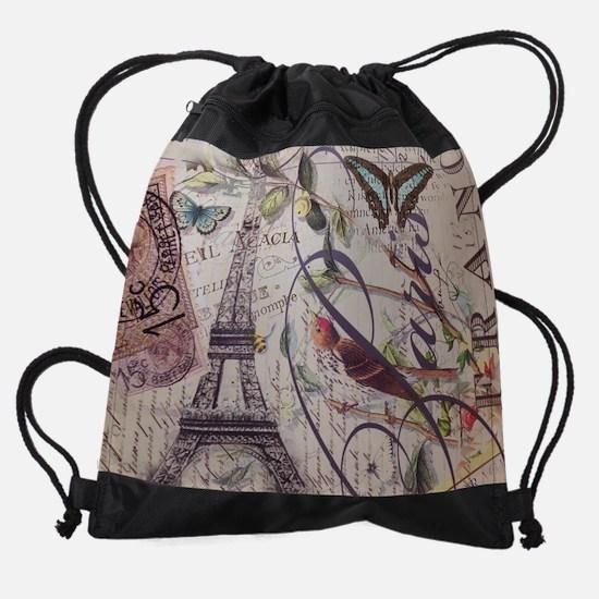 french botanical vintage paris Drawstring Bag