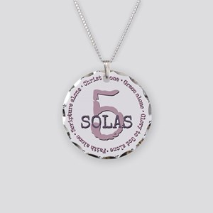 5 Solas Reformed Theology Necklace Circle Charm