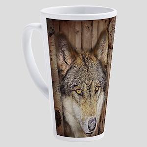 vintage Americana wild wolf 17 oz Latte Mug
