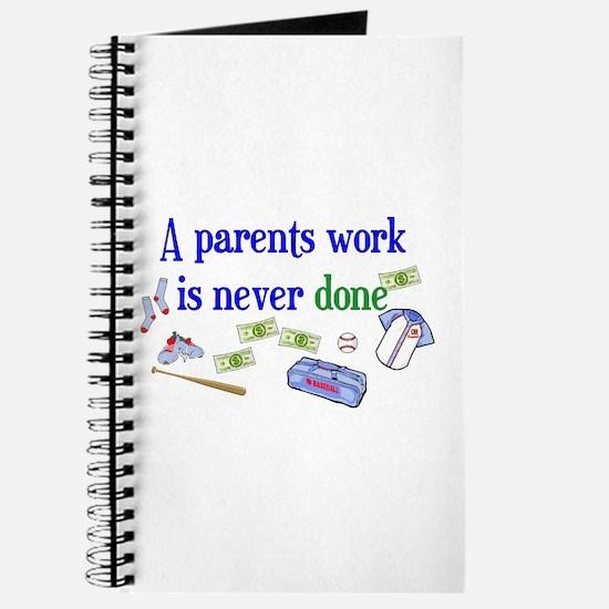 A PARENTS WORK-BASEBALL Journal