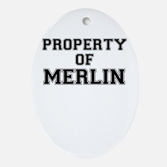 Property of MERLIN Oval Ornament