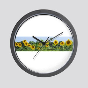 Sunny Sunflower Row Wall Clock