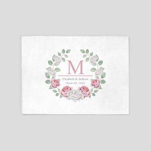 Floral Wreath Wedding Monogram 5'x7'Area Rug