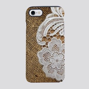 french country burlap lace iPhone 8/7 Tough Case