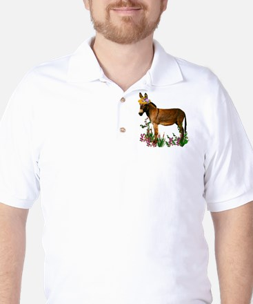 Burro in Straw Hat Golf Shirt