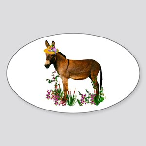 Burro in Straw Hat Oval Sticker