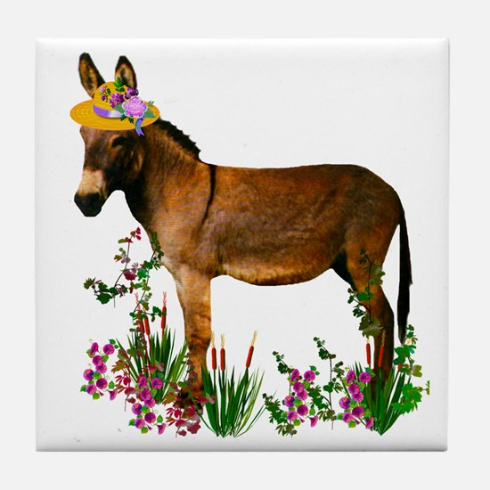 Burro in Straw Hat Tile Coaster