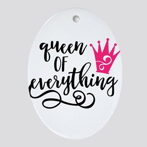 QUEEN of everything Oval Ornament