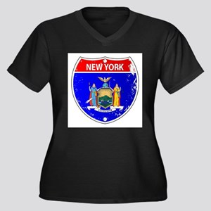 New York Flag Icons As Interstat Plus Size T-Shirt