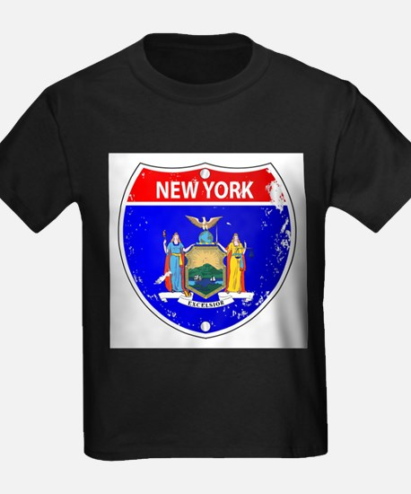 New York Flag Icons As Interstate Sign T-Shirt