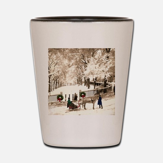 Boston Commons Snow in 1870s Shot Glass
