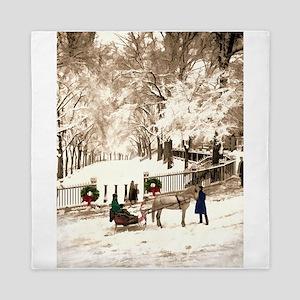Boston Commons Snow in 1870s Queen Duvet