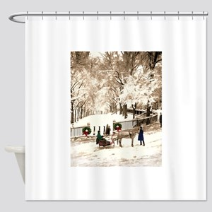 Boston Commons Snow in 1870s Shower Curtain