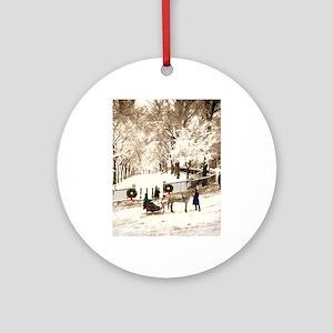 Boston Commons Snow in 1870s Round Ornament