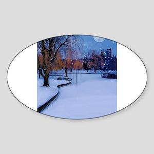 Boston Commons Frozen Pond at Night Sticker