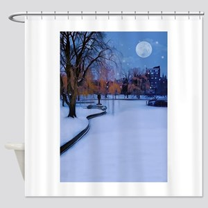 Boston Commons Frozen Pond at Night Shower Curtain