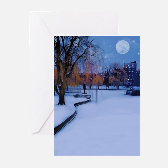 Boston Commons Frozen Pond at Night Greeting Cards