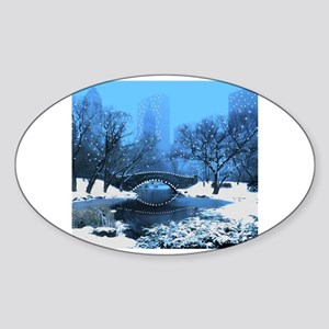 Central Park NY Bridge at Twilight Sticker