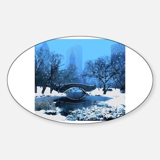 Central Park NY Bridge at Twilight Decal