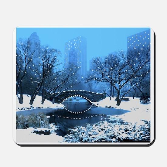 Central Park NY Bridge at Twilight Mousepad