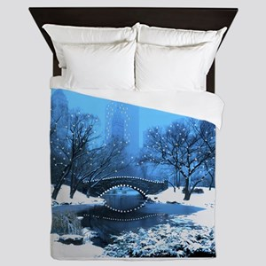 Central Park NY Bridge at Twilight Queen Duvet