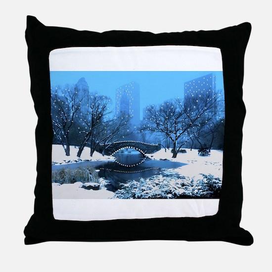 Central Park NY Bridge at Twilight Throw Pillow