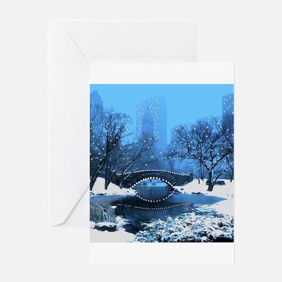 Central Park NY Bridge at Twilight Greeting Cards