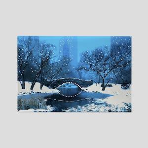Central Park NY Bridge at Twilight Magnets