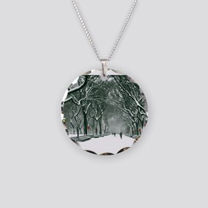 Central Park Snowy Path Necklace Circle Charm